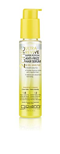 Giovanni Hair 2chic Ultra-Revive Super Potion Anti-Frizz Serum, 2.75 oz, Dual Complex of Pineapple & Ginger, Pro Vitamin B5, Honeysuckle, Sulfate Free, Color Safe