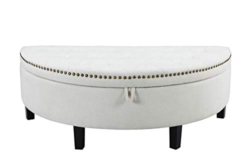 Iconic Home Jacqueline Tufted Cream White Soft Brushed Linen Half Moon Storage Ottoman with Gold Trim