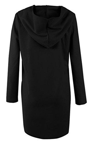 Mode Noir Femme Bigood Blouson Hiver Manche Automne Longue Manteau Veste Feutre Capuche AfqvUH
