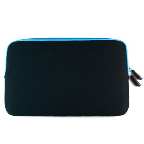 Neoprene Zipper Sleeve and USB Cable for the Amazon Kindle Fire HDX - Black with Blue Trim