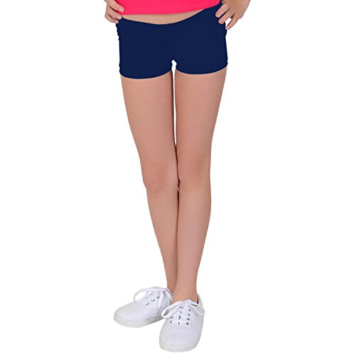 Stretch is Comfort Girl's NYLON SPANDEX Booty Shorts Navy Blue Large