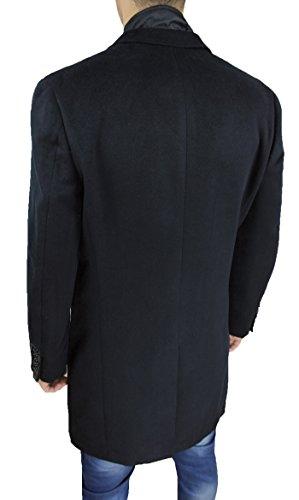 Elegante Giaccone Gilet Soprabito Cappotto Fit Sartoriale Interno Slim Uomo Con Nero qSCzrq