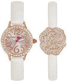 Betsey Johnson Women's White Strap Watch and Bracelet Set , - Jewelry Johnsons