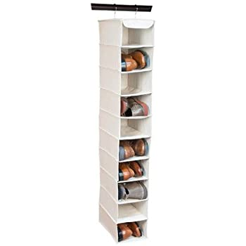 Richards Arrow Weave Large 10 Shelf Hanging Shoe Organizer-beige (1, Natural beige)