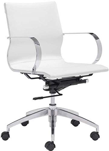 Zuo Modern 100375 Glider Low Back Office Chair, White, Slim Yet Comfortable Profile with Added Lumbar Support, Soft Leatherette Upholstery and Chrome Arms, Dimensions 27.6