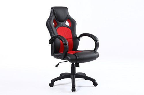 BTEXPERT Executive PU Leather High-back Swivel Racing Office Chair Ergonomic Gaming Computer Desk Bucket Seat Tilt Height Adjustment Headrest Lumbar Support – Red