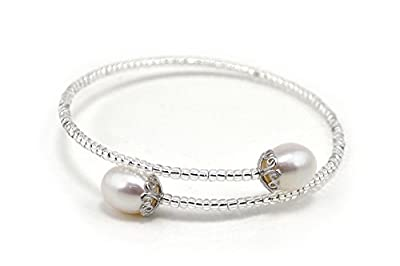AAA Natural White Color Freshwater Pearl Bangle