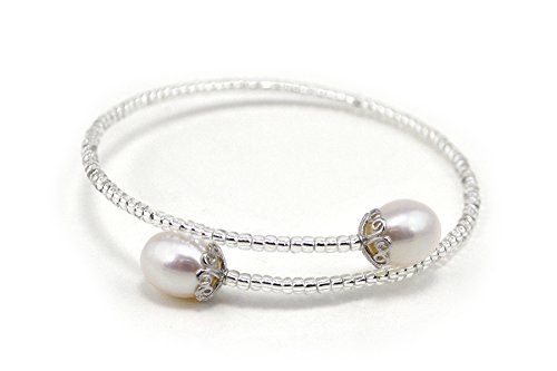 Round Pearls Bracelet Bangle (AAA Natural White Color Freshwater Cultured Pearl Bangle Bracelet)