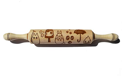 Ghibli Studio Totoro Laser Cut Wooden ROLLING PIN. Eco-Friendly, Safe, Easy to handle Product. Engraved Dough Roller for embossed cookies, salt dough, play dough or clay. Best Gift for women, girls -