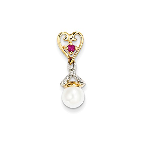 14k Yellow Gold Diamond 9mm Round Freshwater Cultured Pearl Created Composite Red Ruby Pendant Charm Necklace Fine Jewelry Gifts For Women For Her