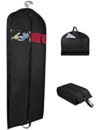 Garment Bag Suit Bag for Travel and Storage 60 Inch, Washable Polyester Oxford Fabric Garment Bags with Two Zipped Pockets and One Zipped Shoe bag …
