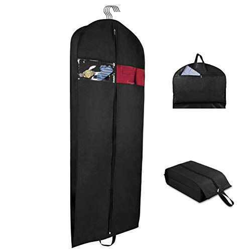 Univivi Garment Bag Suit Bag for Travel and Storage 60 Inch, Washable Polyester Oxford Fabric Garment Bags with Two Zipped Pockets and One Zipped Shoe bag - Bags Sets Garment Luggage