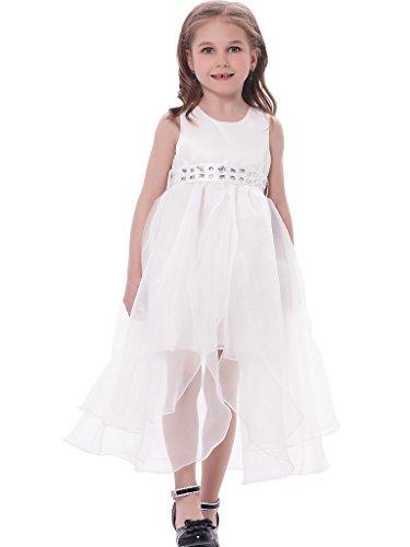 Bonny Billy Girl's Asymmetric Solid Mesh Long Tail Flower Girl Dress 8-9Y White