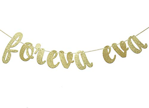 JustParty Foreva Eva Glitter Banner, Gold Wedding Banner , Engagement Party Decor, Forever and Ever Banner (Gold)