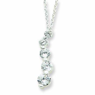 Sterling Silver Cz Journey Necklace
