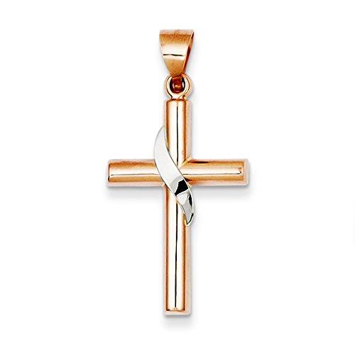 Or bicolore 14carats avec pendentif croix creux