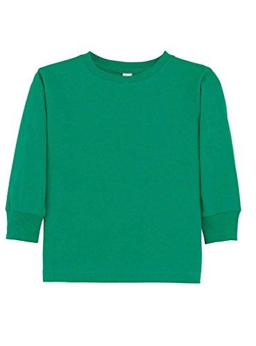 Rabbit Skins 100% Cotton Blank Toddler Football Jersey [Size 2T] Kelly Green Long Sleeve T-Shirt