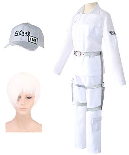 Angelaicos Men's White Costume Outfits Cap Wig Shoes Halloween Cosplay Full Set (XL, Outfits + Wig + Cap) ()