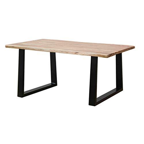 Mesa de comedor estilo industrial, madera maciza acacia acabado ...