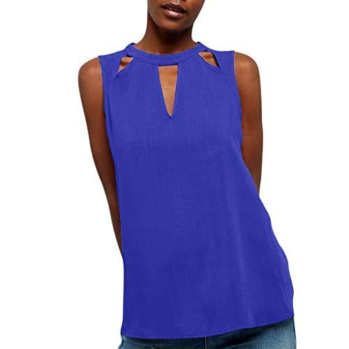 Fitfulvan Women's Neckline Hollow Vest Sleeveless Chiffon Soild Color Tank Tops Casual Loose Wild T-Shirt Blue ()