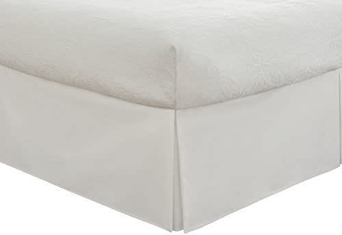 "Fresh Ideas Bedding Tailored Bedskirt, Classic 14"" Drop Length, Pleated Styling, Queen, White"