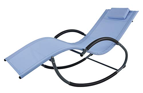 Ukeacn Aluminum Patio Lawn Chaise Lounge Rocking Chair - G-Shape Zero Gravity Design Ergonomic Portable Folding Chaise with Headrest, Suit for Outdoor & Indoor, Blue