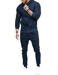 pipigo Men 2 Piece Sportwear Casual Sweatshirt Pants Hooded Tracksuit Set