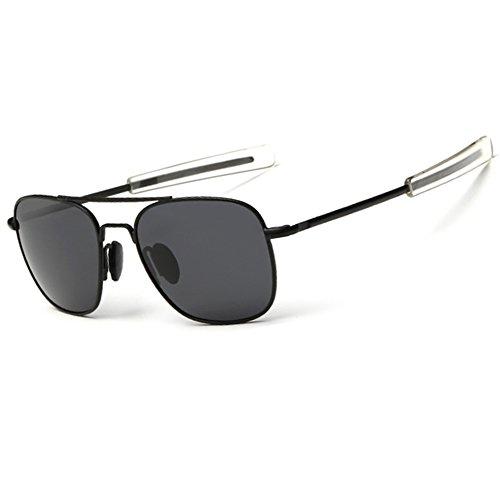 Pilot Army - WELUK Men's Pilot Aviator Sunglasses Polarized 55mm Military Style with Bayonet Temples (Black/Grey, 58)