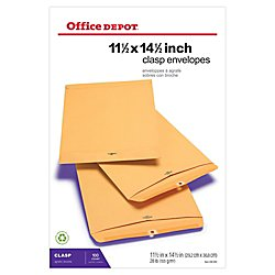 (Office Depot(R) Brand Clasp Envelopes, 11 1/2in. x 14 1/2in, Brown, Box Of 100)