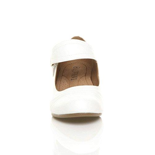 Confort Talon Moyen Pointure Babies Mat Travail Ajvani Escarpins Femmes Blanc Chaussures De 7HwW0