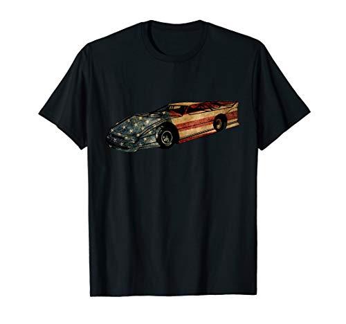 Late Model Dirt Track Racing American Flag Vintage Looking T-Shirt (Dirt Track Late Model)