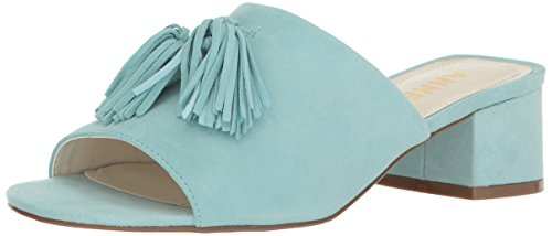 Anne Klein Women's Salome Suede Heeled Sandal, Light Blue, 6 M - Klein Mules Anne