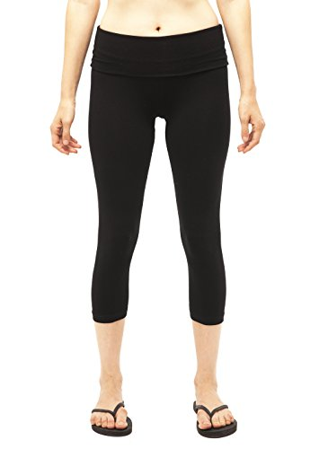 Fold Pant Over Crop - Women's Slimming Foldover Capri Crop Yoga Pants,Black,Small