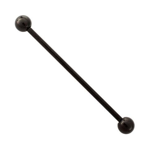 Anodized Titanium Barbell - 14G Black Anodized Titanium Industrial Barbell