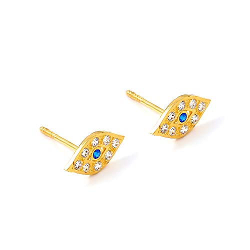 Balluccitoosi 14k Gold Tiny Stud Earrings for Women & Girls - Real Hypoallergenic, Small & Minimalist (14k Evil Eye CZ Stud Earrings)