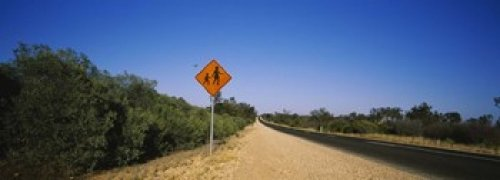 Pedestrian Crossing sign at the roadside Outback Highway Australia Poster Print (36 x 13) (Crossing Highway Sign Posters)