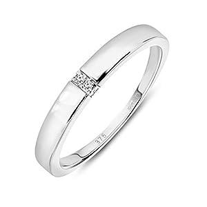 Miore – Anillo para mujer de oro blanco de 9 quilates (375) con diamante de 0,02 ct Miore – Anillo para mujer de oro blanco de 9 quilates (375) con diamante de 0,02 ct Miore – Anillo para mujer de oro blanco de 9 quilates (375) con diamante de 0,02 ct
