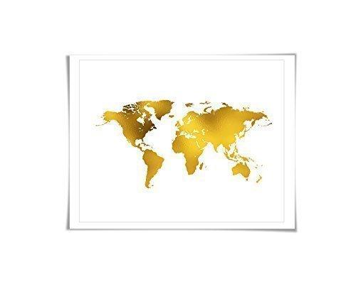 Amazon gold foil world map art print 7 foil colours3 sizes gold foil world map art print 7 foil colours3 sizes world map gumiabroncs Gallery