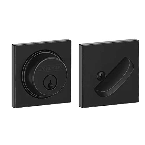 Schlage Lock Company Schlage Custom B60COL622 Collins Single Cylinder Deadbolt C Keyway with 12321 Latch and and 10116 Strike Matte Black Finish