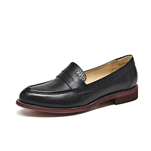 Zapatos Tacón Mujeres Mano Oveja Hechos Piel Bajo De En Resbalón Mocasines Pisos Puntiagudos Negro Penny Señoras A 6qOIqwScUF
