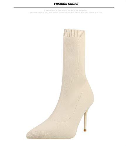 Stivali Calzini Alti Donna Moda Stivaletti Invernali Scarpe Tacco Alto 9cm  Moda Nero Beige  Amazon.it  Scarpe e borse 15b9376f3bd