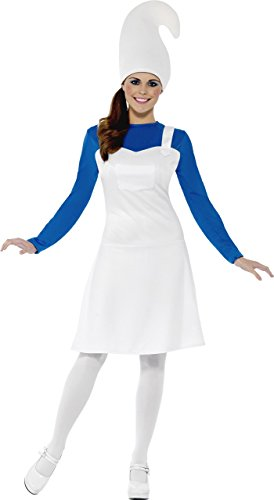 Smiffy's Women's Garden Gnome Costume, Dress and Hat, Funny Side, Serious Fun, Size 10-12, 23391 (Gnome Halloween Costume)