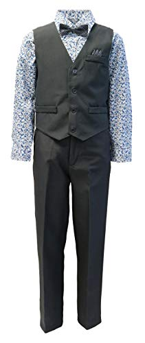 Vittorino Boys 4 Piece Holiday Suit Set with Vest Shirt Tie Pants and Hankerchief, Charcol Floral, 4T