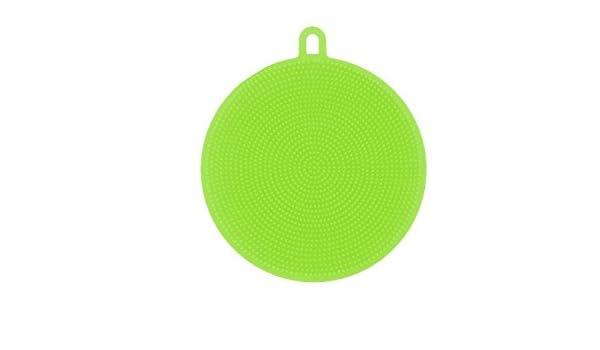 Aquarius - Esponja de silicona para lavado de platos, color verde, almohadilla para cocina o limpieza general, resistente y eficaz, duradera, ...