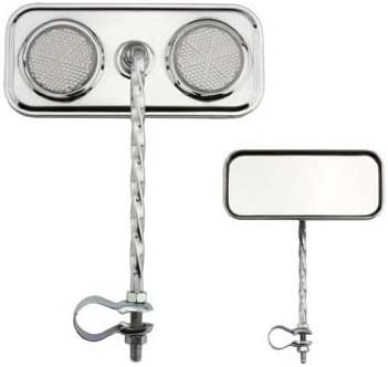 Pair Chrome Rectangle Rear View Bicycle Mirror Reflector Lowrider Beach Cruiser.