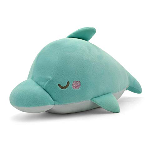 YINGGG Plush Cute Dolphin Pillow - Stuffed Cotton Soft Animal Toy Cyan Gift for Friend Kids/Adult On Halloween, Christmas (L)]()