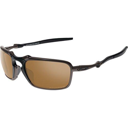 174306b896 Oakley Men s Badman OO6020-02 Polarized Iridium Rectangular Sunglasses