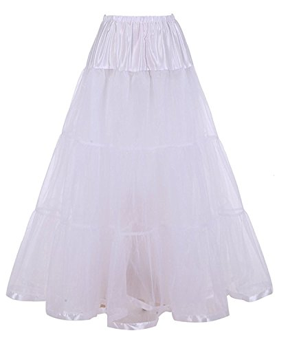 Retro Multi-Layers Long Tulle Skirts for Maxi Dress (S/M, Ivory)