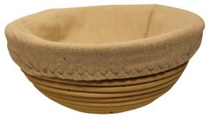 Eugosa 8 Inch Round Banneton Proofing Bread Basket, Cotton Liner, Instruction Card