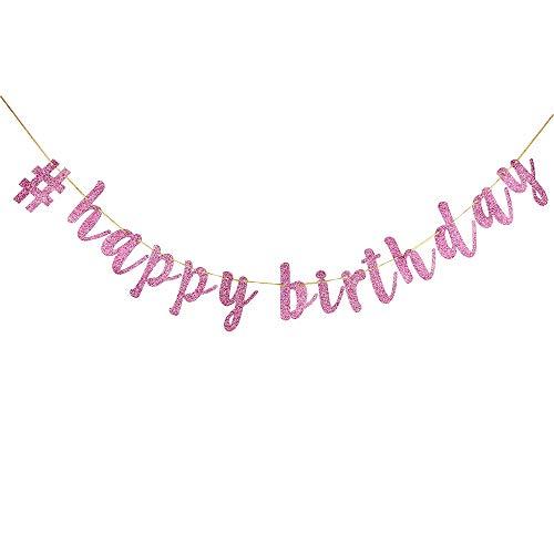 (INNORU # Happy Birthday Banner Pink Glitter Birthday Decorations Supplies - 16th Birthday Party Supplies)